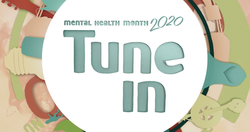 "A paper art graphic of a Mental Health Month poster reads ""Mental Health Month 2020: Tune In"""