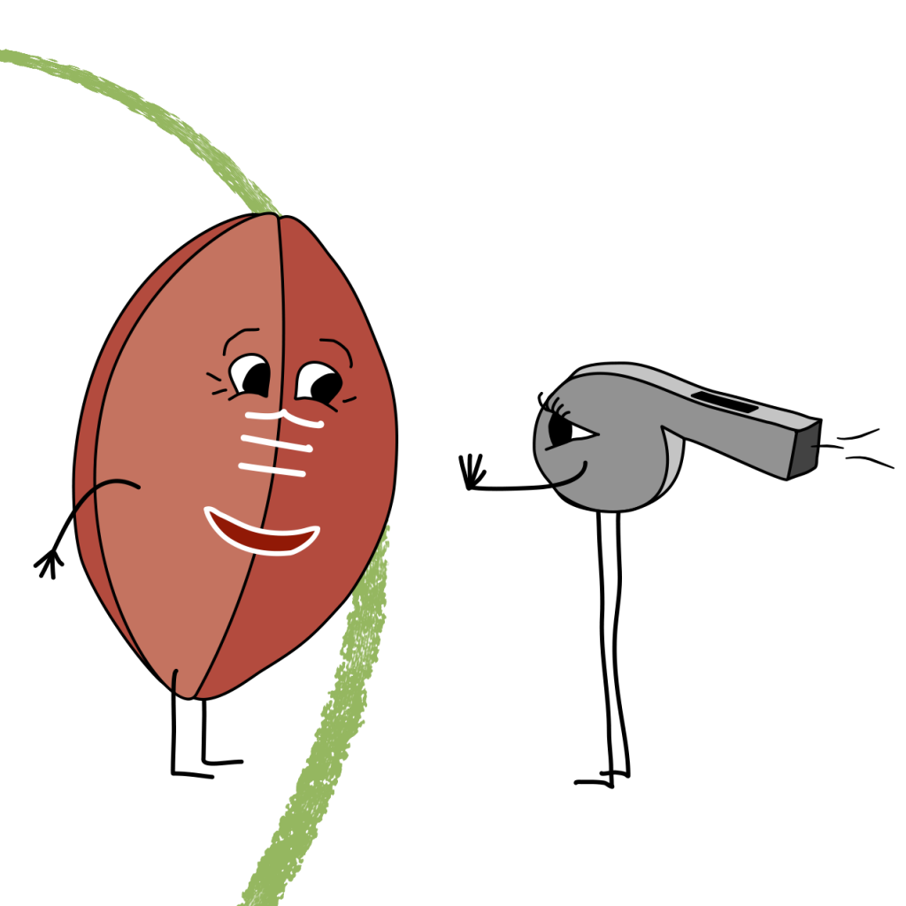 Cartoon of a football being told to stay inside its boundary by a cartoon whistle
