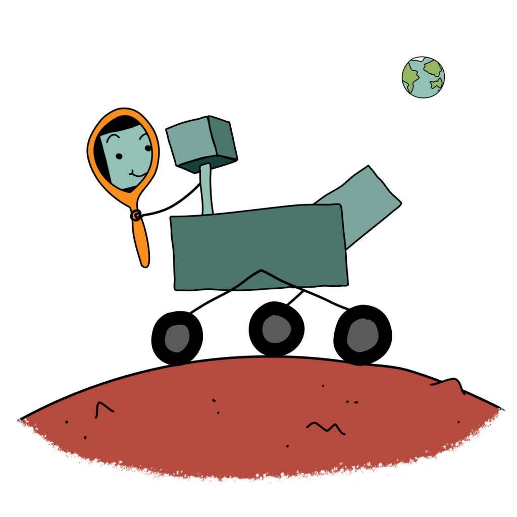 """Cartoon of the Mars Rover """"Curiosity"""" looking in a mirror at itself"""