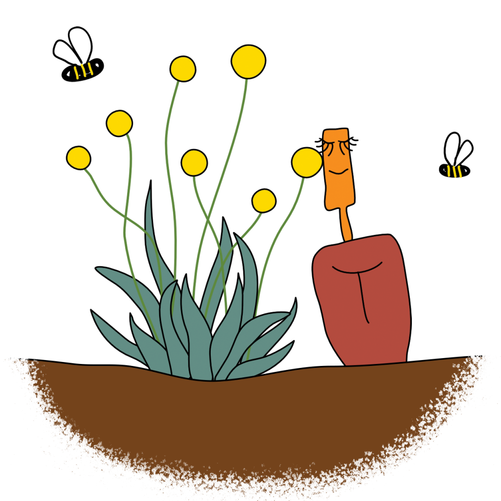 A picture of a hand shovel planted in earth leaning against some native flowers and looking content, bees are buzzing merrily