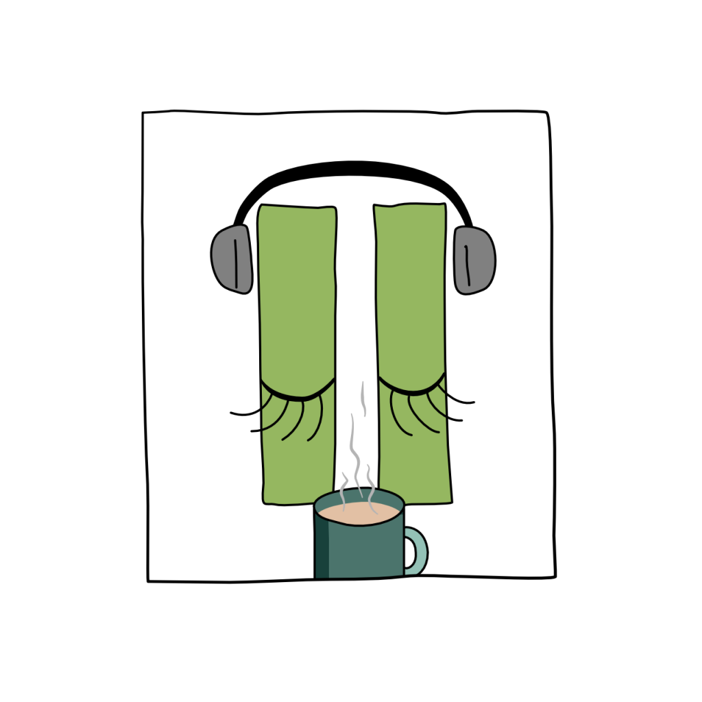 A cartoon of a pause button with eyes closed, headphones on and a cup of hot tea