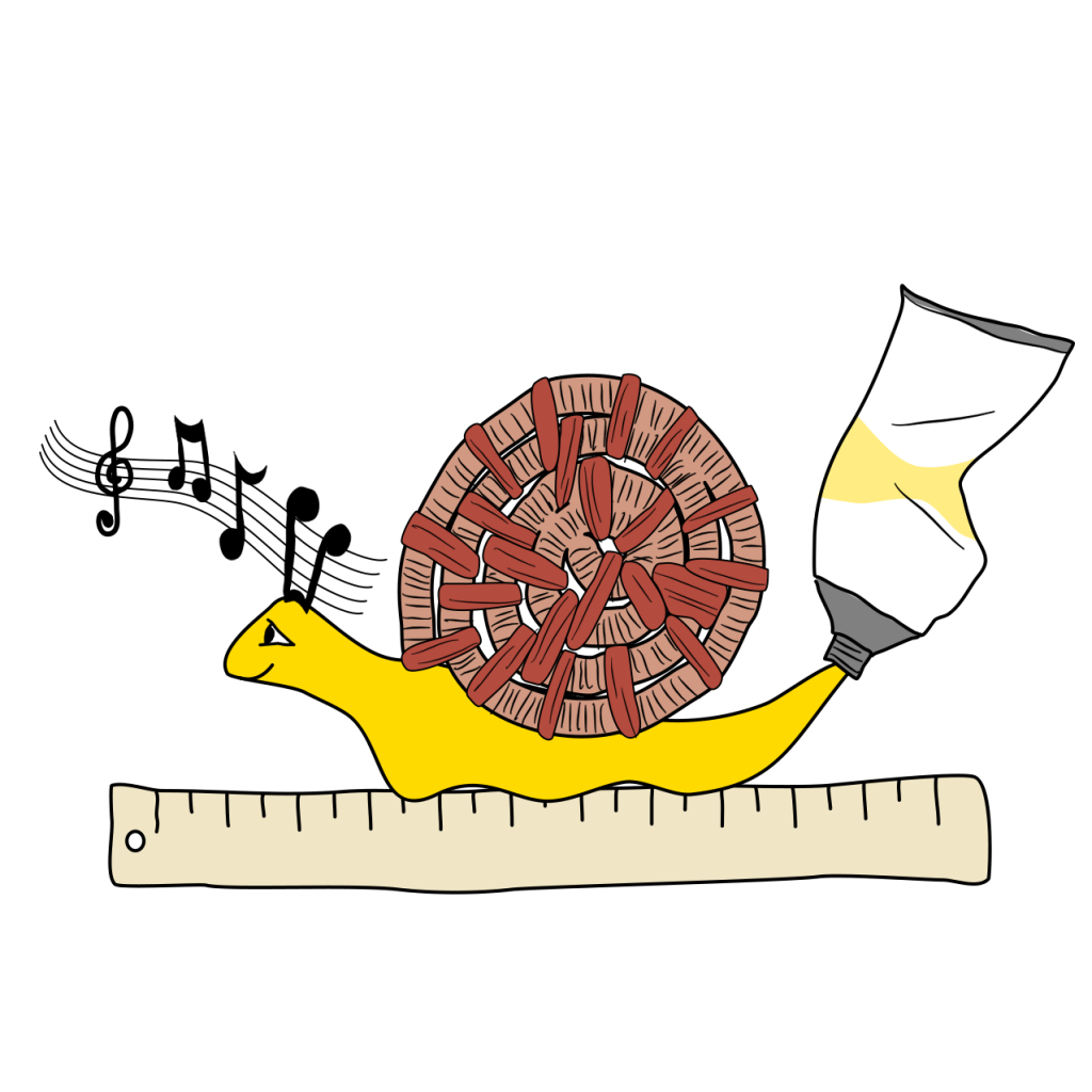 A picture of a snail, where the shell is a basket weave, the antennae are musical notes and the body is representing yellow paint.